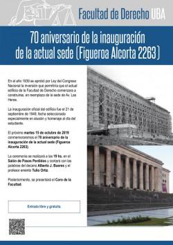 70 aniversario de la inauguración de la actual sede (Figueroa Alcorta 2263)