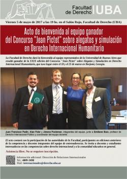 """Acto de bienvenida al equipo ganador del Concurso """"Jean Pictet"""" sobre alegatos y simulación en Derecho Internacional Humanitario"""