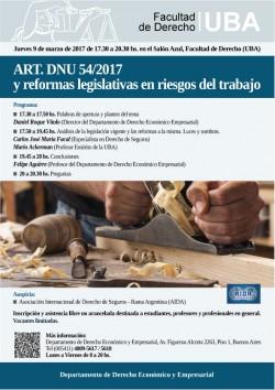 ART. DNU 54/2017 y reformas legislativas en riesgos del trabajo