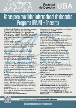 Becas para movilidad internacional de docentes. Programa UBAINT - Docentes