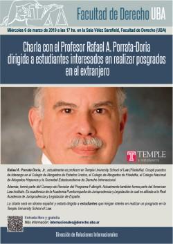 Charla con el Profesor Rafael A. Porrata-Doria dirigida a estudiantes interesados en realizar posgrados en el extranjero