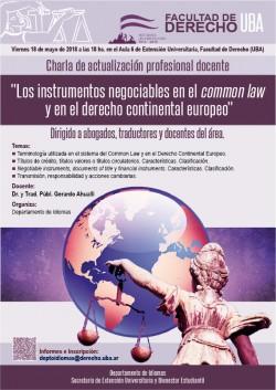 """Charla de actualización profesional docente. """"Los instrumentos negociables en el common law y en el derecho continental europeo"""""""