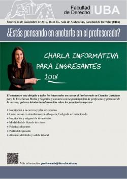 Charla informativa del Profesorado en Ciencias Jurídicas para la Enseñanza Media y Superior