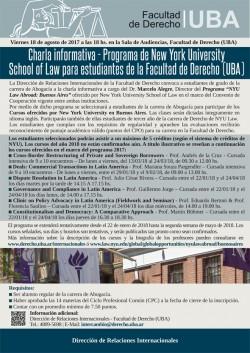 Charla Informativa - Programa de New York University School of Law  para Estudiantes de la Facultad de Derecho (UBA)