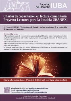 Charlas de capacitación en lectura comunitaria. Proyecto Lectores para la Justicia UBANEX