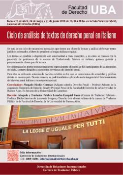 Ciclo de análisis de textos de derecho penal en italiano