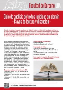 Ciclo de análisis de textos jurídicos en alemán. Claves de lectura y discusión