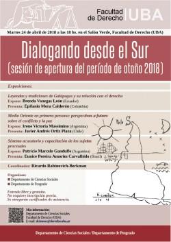 """Ciclo """"Dialogando desde el sur"""" (sesión de apertura del período de otoño 2018)"""