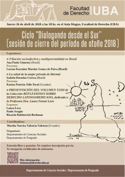 """Ciclo """"Dialogando desde el sur"""" (sesión de cierre del período de otoño 2018)"""