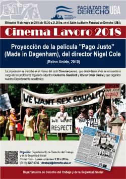 """Cinema Lavoro 2018 - Proyección de la película  """"Pago Justo"""" (Made in Dagenham), del director Nigel Cole (Reino Unido, 2010)"""
