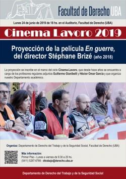 Cinema Lavoro 2019, proyección de la película <i>En guerre</i>, del director Stéphane Brizé (año 2018)