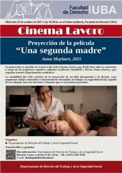 """Cinema Lavoro - Proyección de la película """"Una segunda madre"""" (2015)"""