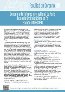 Concours d'arbitrage international de Paris. École de Droit de Sciences Po. Edición 2019/2020