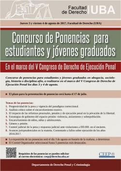 Concurso de Ponencias para estudiantes y jóvenes graduados. En el marco del V Congreso de Derecho de Ejecución Penal