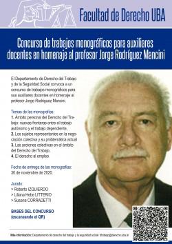 Concurso de trabajos monográficos para auxiliares docentes en homenaje al profesor Jorge Rodríguez Mancini