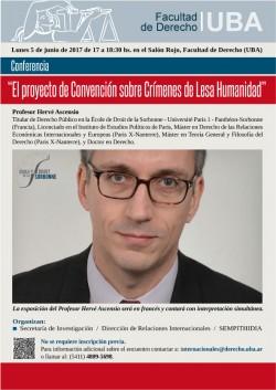 """Conferencia """"El proyecto de Convención sobre Crímenes de Lesa Humanidad"""""""