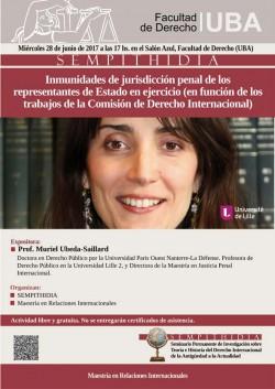 """Conferencia """"Inmunidades de jurisdicción penal de los representantes de Estado en ejercicio (en función de los trabajos de la Comisión de Derecho Internacional"""""""