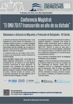 """Conferencia magistral de Adriana Alfonso: """"El DNU 70/17 transcurrido  un año de su dictado"""""""