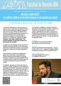 """Conferencia """"¿No dejar a nadie atrás?: Las políticas públicas en derechos humanos en permanente encrucijada"""""""