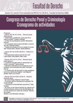 Congreso de Derecho Penal y Criminología. Cronograma de actividades