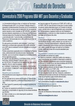 Convocatoria 2019 Programa UBA-MIT para Docentes y Graduados