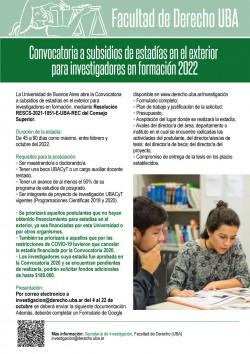 Convocatoria a subsidios de estadías en el exterior para investigadores en formación 2022
