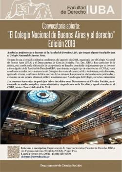 """Convocatoria abierta: """"El Colegio Nacional de Buenos Aires y el derecho"""". Edición 2018"""