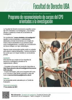 Convocatoria abierta para docentes. Programa de reconocimiento de cursos del CPO orientados a la investigación