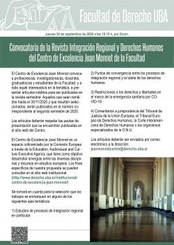 Convocatoria de la Revista <i>Integración Regional y Derechos Humanos</i> del Centro de Excelencia Jean Monnet de la Facultad