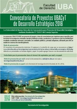 Convocatoria de Proyectos UBACyT de Desarrollo Estratégico 2018