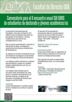 Convocatoria para el segundo encuentro anual <i>SUI IURIS</i> de estudiantes de doctorado y jóvenes académico/as