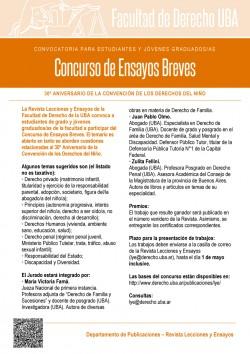 Convocatoria para estudiantes y jóvenes graduados/as. Concurso de Ensayos Breves. 30º Aniversario de la Convención de los Derechos del Niño