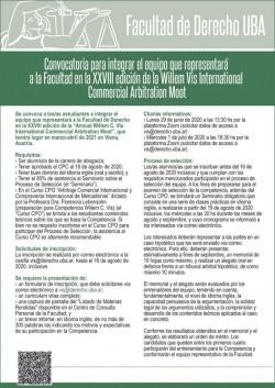 Convocatoria para integrar el equipo que representará a la Facultad en la XXVIII edición de la Willem Vis International Commercial Arbitration Moot