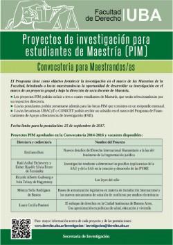 Convocatoria para participar del Programa de Investigación en Maestría (PIM), Becas PIM y Programa de Financiamiento de Apoyo a Becarios/as de Investigación (FAB)