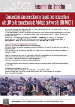Convocatoria para seleccionar al equipo que representará a la UBA en la competencia de Arbitraje de Inversión (FDI MOOT)