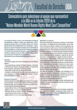 """Convocatoria para seleccionar al equipo que representará a la UBA en la Edición 2020 de la """"Nelson Mandela World Human Rights Moot Court Competition"""""""