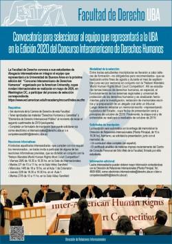Convocatoria para seleccionar al equipo que representará a la UBA en la Edición 2020 del Concurso Interamericano de Derechos Humanos