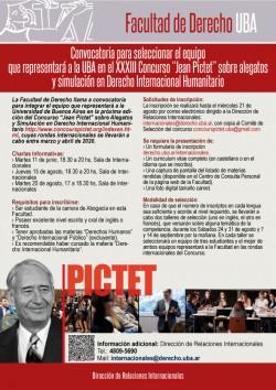 """Convocatoria para seleccionar el equipo que representará a la UBA en el XXXIII Concurso """"Jean Pictet"""" sobre Alegatos y Simulación en Derecho Internacional Humanitario"""