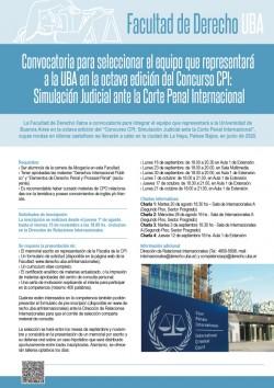 Convocatoria para seleccionar el equipo que representará a la UBA en la octava edición del Concurso CPI: Simulación Judicial ante la Corte Penal Internacional