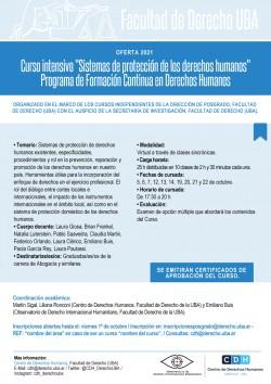"""Curso intensivo: """"Sistemas de protección de los derechos humanos"""". Programa de Formación Continua en Derechos Humanos - Oferta 2021"""