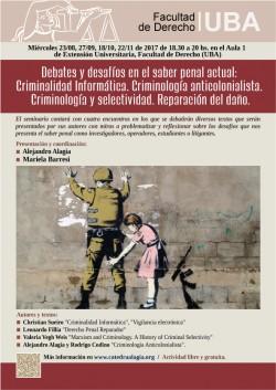 Debates y desafíos en el saber penal actual: Criminalidad Informática. Criminología anticolonialista. Criminología y selectividad. Reparación del daño