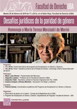 Desafíos jurídicos de la paridad de género. Homenaje a María Teresa Merciadri de Morini