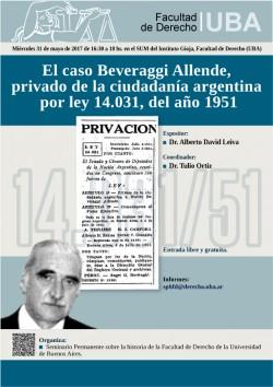 El caso Beveraggi Allende, privado de la ciudadanía argentina por ley 14.031, del año 1951