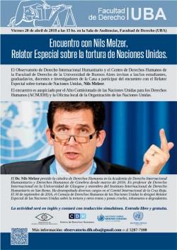 Encuentro con Nils Melzer, Relator Especial sobre la tortura de Naciones Unidas