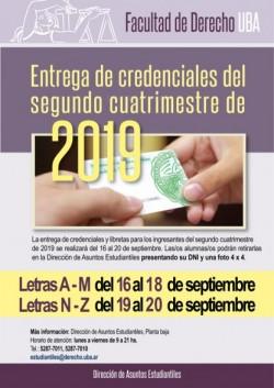 Entrega de credenciales del segundo cuatrimestre de 2019