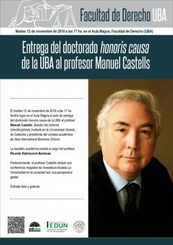 Entrega del doctorado <i>honoris causa</i> al profesor Manuel Castells