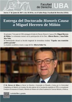 Entrega del Doctorado <i>Honoris Causa</i> a Miguel Herrero de Miñón