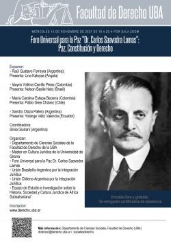 """Foro Universal para la Paz """"Dr. Carlos Saavedra Lamas"""": Paz, Constitución y Derecho"""