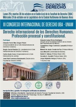 III Congreso Internacional de Derecho UBA - UNAM. Derecho internacional de los Derechos Humanos. Protección procesal - constitucional