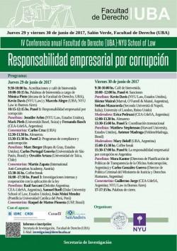 IV Conferencia anual Facultad de Derecho (UBA)-NYU School of Law: Responsabilidad empresarial por corrupción